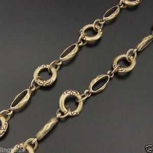 Vintage-Bronze-Tone-Brass-Flower-Lace-Ring-Necklace-Link-Sweater-Chain-95cm