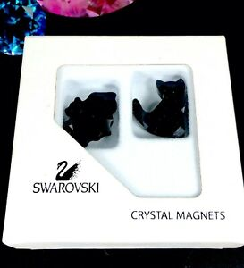 NEW-IN-BOX-2005-06-SWAROVSKI-BLACK-CRYSTAL-CAT-amp-BAT-FIGURINE-CRYSTAL-MAGNETS