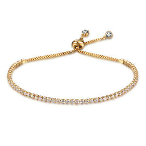Women-039-s-Crystal-Rhinestone-18K-Gold-Plated-Bangles-Bracelet-Jewelry-Adjustable