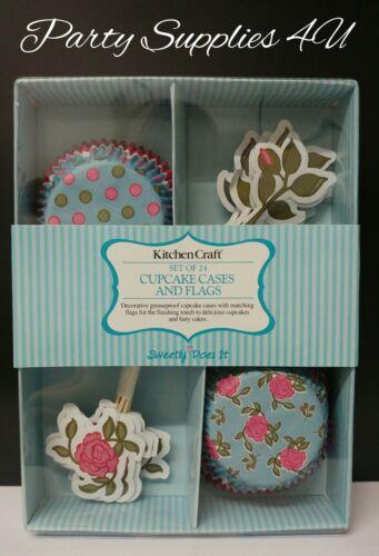 Anniversaire//Jardin//ROSE//FLEUR//bleu//pois 24pk Cupcake Cases /& Toppers//flags