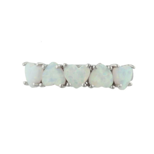 5 Hearts Genuine Opal Heart Ring .925 Sterling Silver