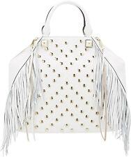 NWT Rebecca Minkoff Runway Rylan White Leather Gold Studded Fringe Tote Bag