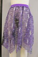 Purple Tiedye+silver Sequin Handkerchief Dance Costume Skirt-size Adult Size M