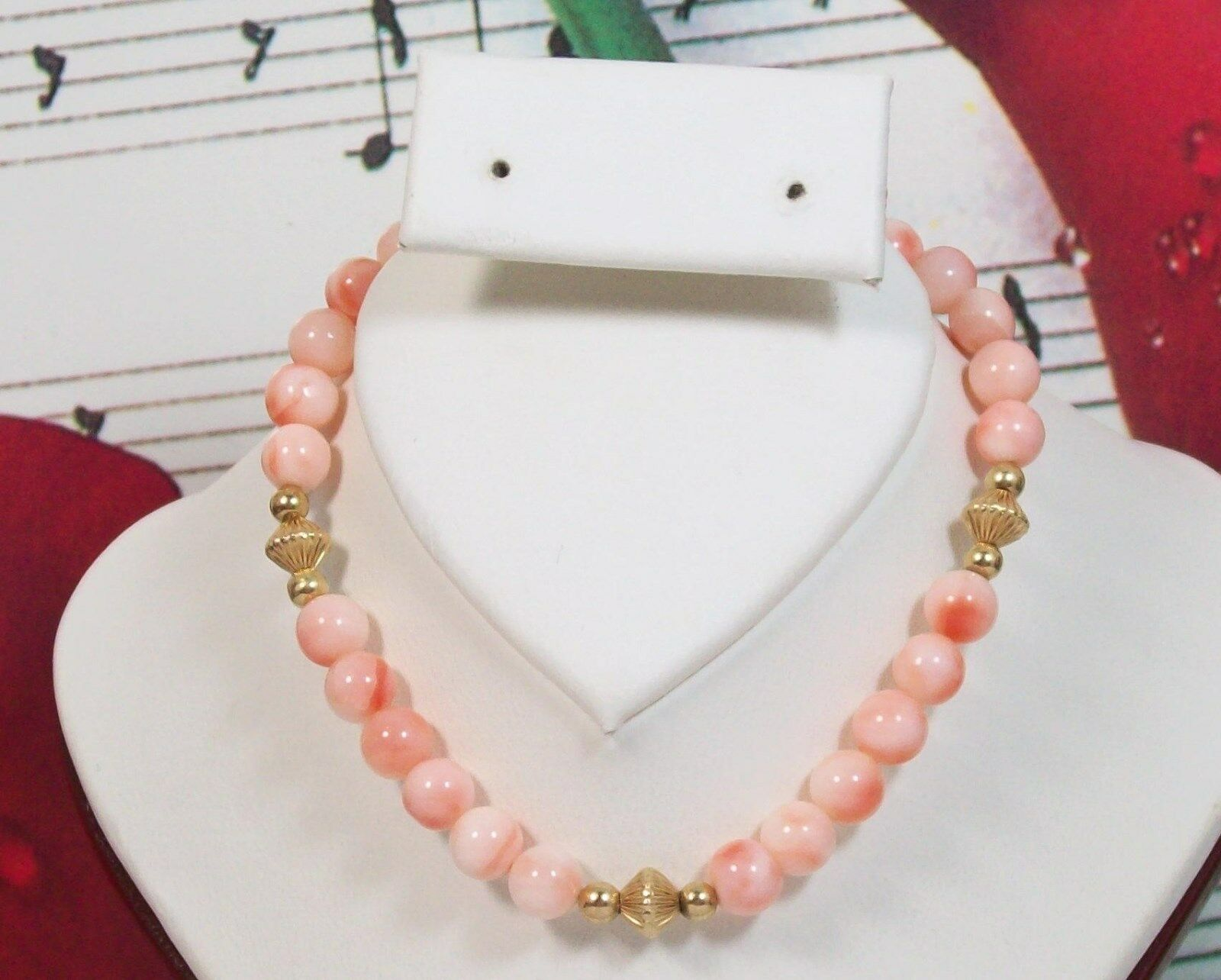 Genuine Coral Beaded Bracelet 6.5 - 7  with 14K gold Filled.100% Natural. CB0014