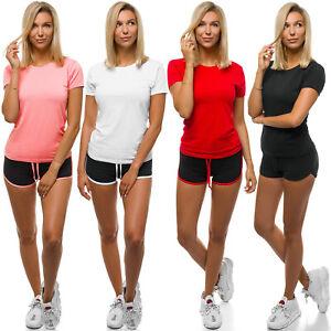 Sportanzug Trainingsanzug T-Shirt Kurzhose Shorts Fitness Damen OZONEE Z//D1016