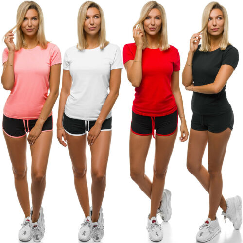 Sportanzug Trainingsanzug T-Shirt Kurzhose Shorts Fitness Damen OZONEE Z//D1021
