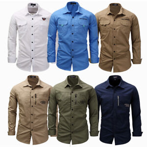 Men-039-s-Epaulet-Long-Sleeve-Army-Casual-Shirt-Military-Button-Tactical-Dress-Shirt