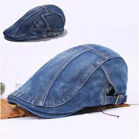 Men Women Denim Jean Duckbill Ivy Cap Golf Driving Flat Cabbie Newsboy Beret Hat