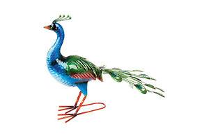 Garden Sculpture BLUE FANTAIL METAL Peacock Bird Ornament FREE DELIVERY D12