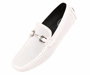 fd9b12a2725 Image is loading Amali-Mens-White-Perforated-Patent-Driving-Moccasin-Loafer-