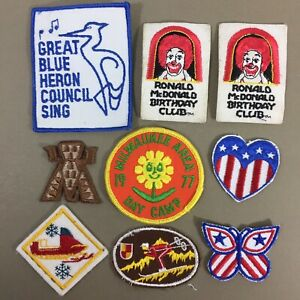 Lot-of-9-vintage-patches-Ronald-McDonald-patriotic-winter-sports-and-more