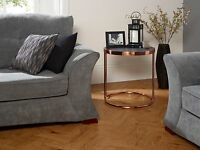 Zion Glass Top Lamp Table With Stone Effect Top And Metal Rose Gold Frame