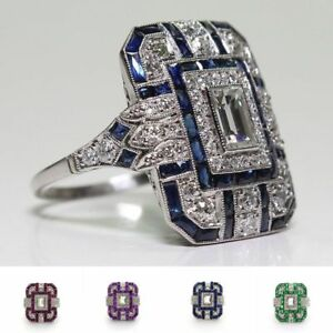 HOT-Antique-Art-Deco-Large-Jewelry-Sterling-Silver-Blue-Sapphire-amp-Diamond-Ring