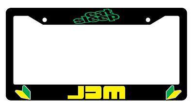 Black License Plate Frame Eat, Sleep, JDM Auto Accessory