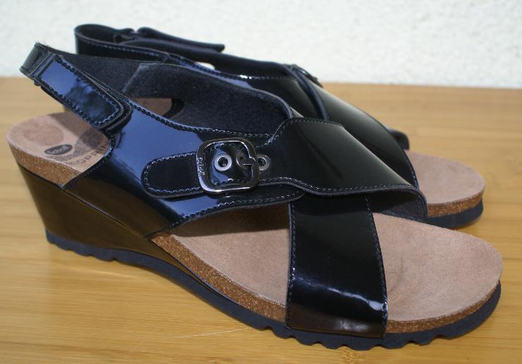 SCHOLL Bioprint Sandale Sandalette schwarz Lackleder Gr. 41 UK 7 NEU