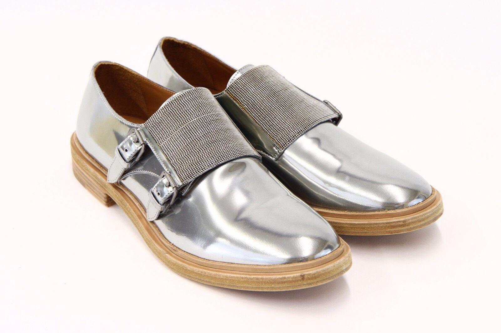 consegna gratuita e veloce disponibile NWOB 1995 Brunello Brunello Brunello Cucinelli Chrome Leather Monili Double Monk scarpe 40 10US A176  a prezzi accessibili