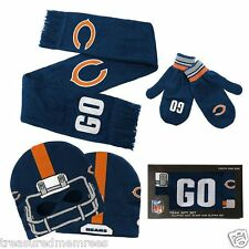 4f79a9d2 Chicago Bears Hat Cap Scarf & Mittens Set Youth Kids Football NFL ...