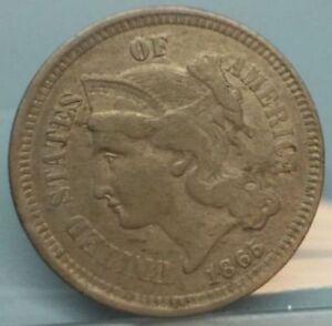 1865-3-Cent-Nickle-piece-Nice-AU-coin-2