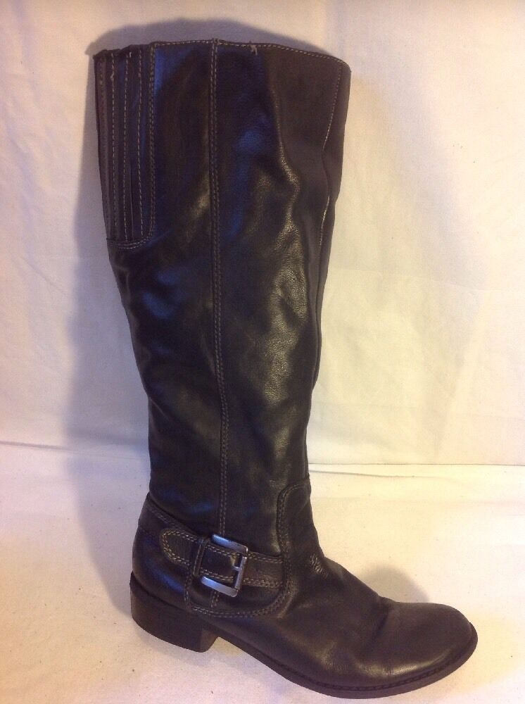 Tu Black Knee High Leather Boots Size 5