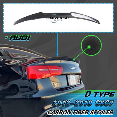 Carbon Fiber Trunk Spoiler Lip Wing For 2012-2018 Audi A6 C7 Sedan 4dr Type B
