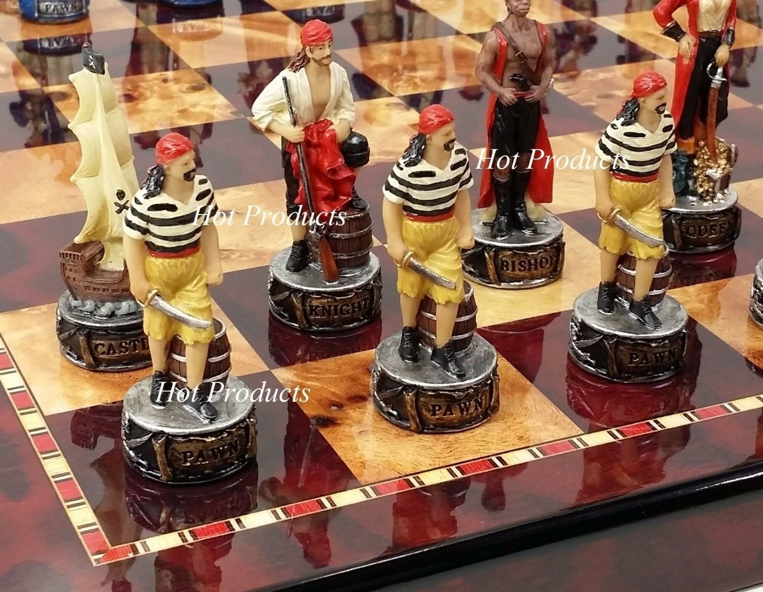 Pirates Vs Royal Navy Pirate Chess Set W 18   Cherry & Burlwood Coloree tavola  a buon mercato
