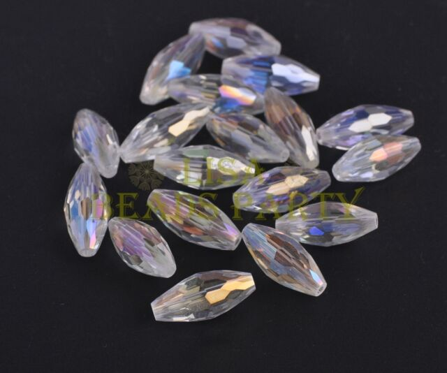 10PCS 19X8mm Oval Rugby Faceted Crystal Glass Loose Findings Bead Clear AB