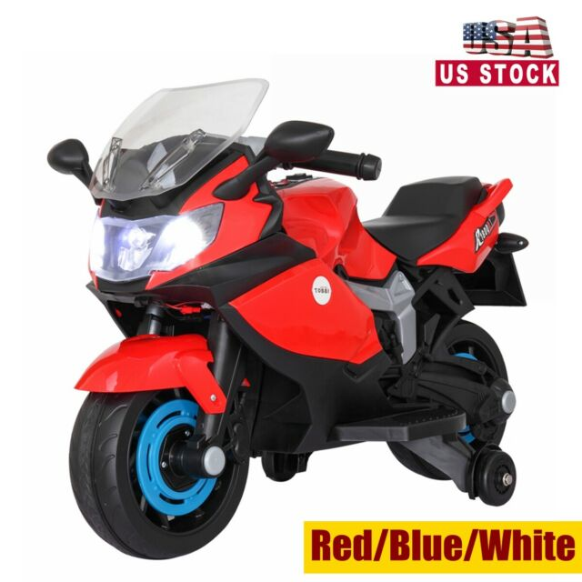 Kids 6v Ride On Motorcycle Training Wheels Electric Toy Headlights Music White For Sale Online Ebay