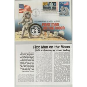 1989-USA-FDC-And-Sterling-Silver-Proof-Medal-20-Anniv-First-Man-on-Moon-MF73570