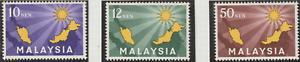 (16)MALAYSIA 1963 INAUGURATION OF MALAYSIA SET 3V FRESH MNH.