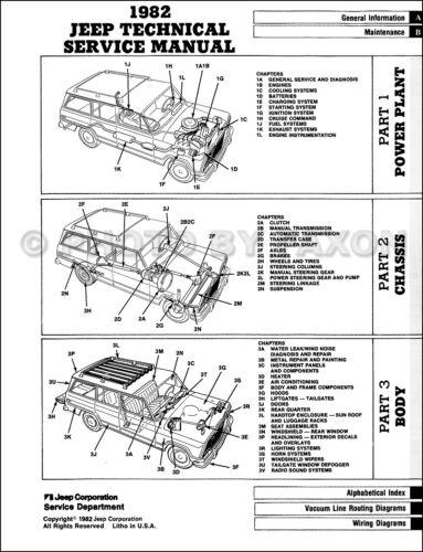 1982 Jeep Negozio Manuale CJ5 CJ7 CJ8 Cherokee Wagoneer Camion Scrambler Repair