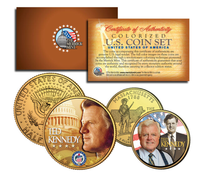 173a99c5f Ted Kennedy Massachusetts Quarter   JFK Half Dollar 2-coin Set 24k Gold  Plated for sale online