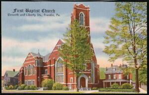 FRANKLIN-PA-First-Baptist-Church-Vintage-Linen-Postcard