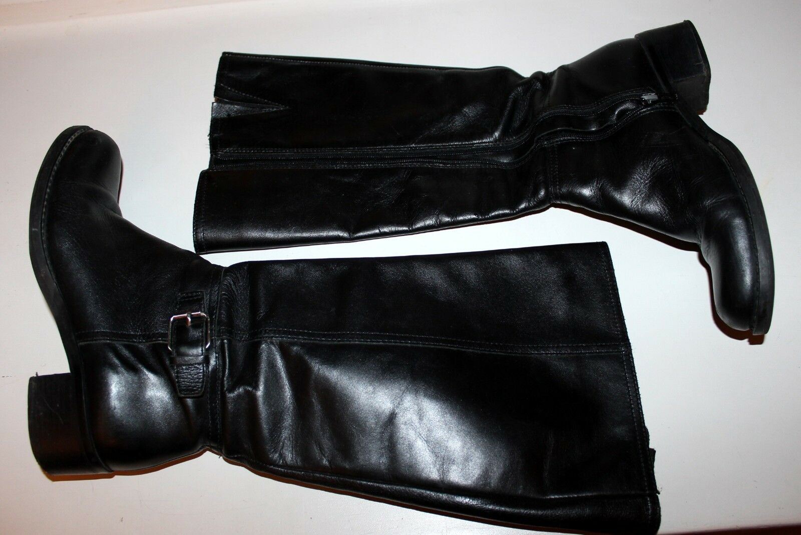 Hunter Original Black Zip Leather Boots Comfy Warm Chic 7.5 40 40.5 M Authentic