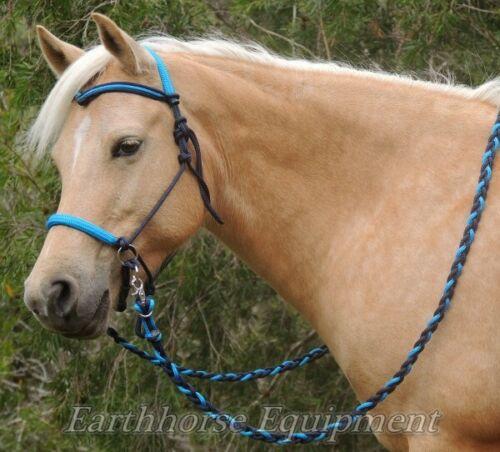 Earthhorse Equipment,V Brow bitless bridle//riding halter Navy//cyan blue