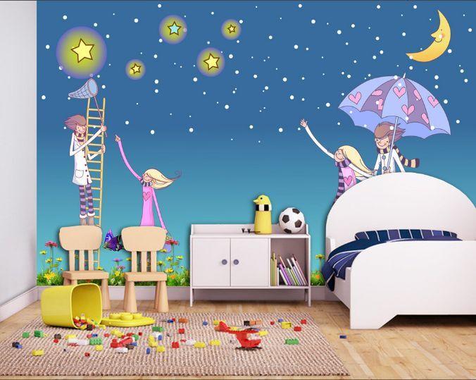 3D Bright Etoiles 3 Photo Papier Peint en Autocollant Murale Plafond Chambre Art
