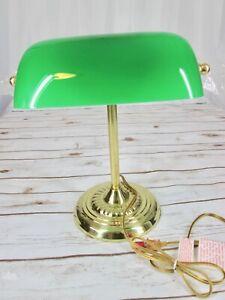 Sutton-Place-Bank-Desk-Lamp-Green-Glass-Shade-Brass-Gold-Tone-Base-Art-Deco-Vtg
