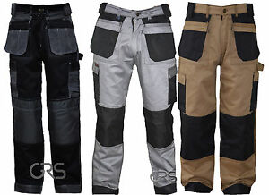 Black Grey Khaki Heavy duty Combat Mens Cargo Trousers Work Pent knee pad pocket