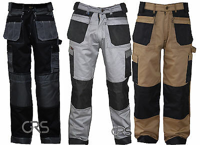 Black Grey Khaki Heavy Duty Combat Mens Cargo Trousers Work Pent Knee Pad Pocket GläNzend
