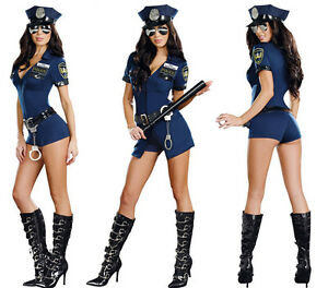 Sexy-Women-039-s-Police-Cop-Officer-Uniform-Costumes-Halloween-Fancy-Dress-Cosplay