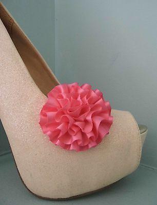2 pequeños Profundo Rosa Roseta Estilo Clips Para Zapatos