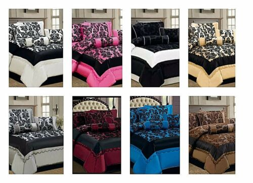 7Pc bedset Flock Quilted Bedspread Comforter Double King Burgundy Pink Chocolate
