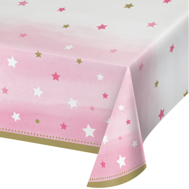 Twinkle Little Star Party Supplies Tablecover Girl Pink 1st Birthday Tableware
