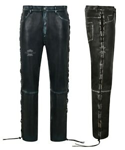 Men-039-s-Biker-Laced-Vintage-Leather-Trousers-100-Lambskin-Riding-Pants-00126