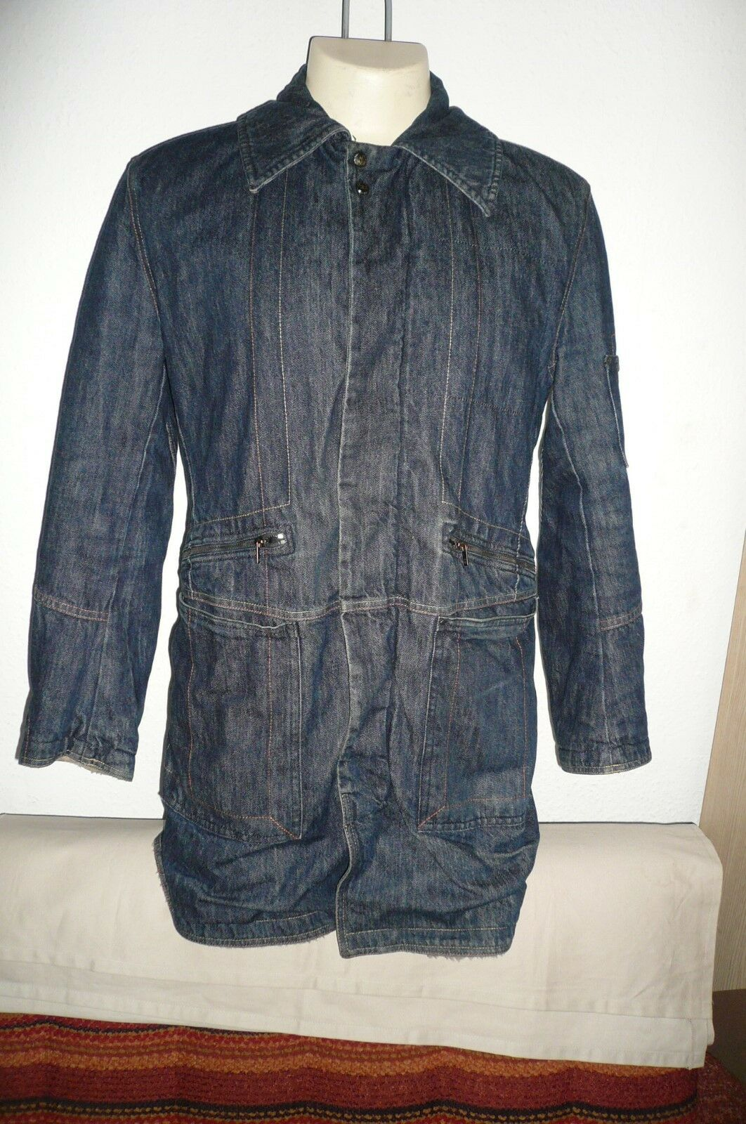 Diesel  Mr Porter Faux Sheepskin Denim Coat  Größe M