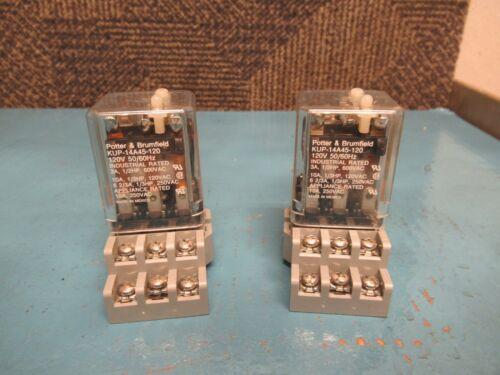 LOT OF 2 POTTER /& BRUMFIELD RELAY KUP-14A45-120 120Vac 10A A AMP w// BASE