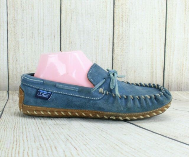 LL BEAN Women's Blue Suede Moccasin Slippers Size 9
