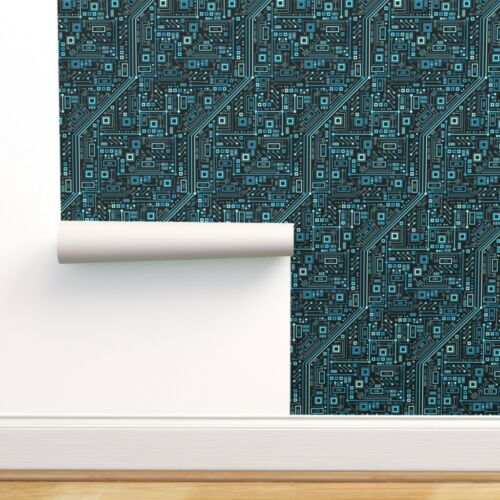 Black Wallpaper Roll Circuit Board Blue Geek Computer Nerd 24in x 27ft