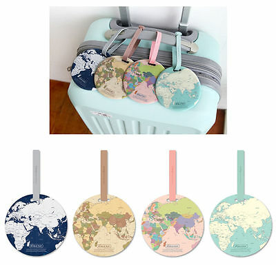 Travel Luggage Round Name Tag- World Map Name Tag- PVC Cute Travel Accessory