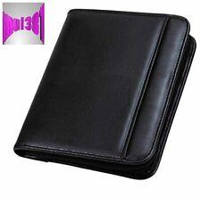 Pro Black Leather Portfolio With Zipper For Business Document Organizer 7x10