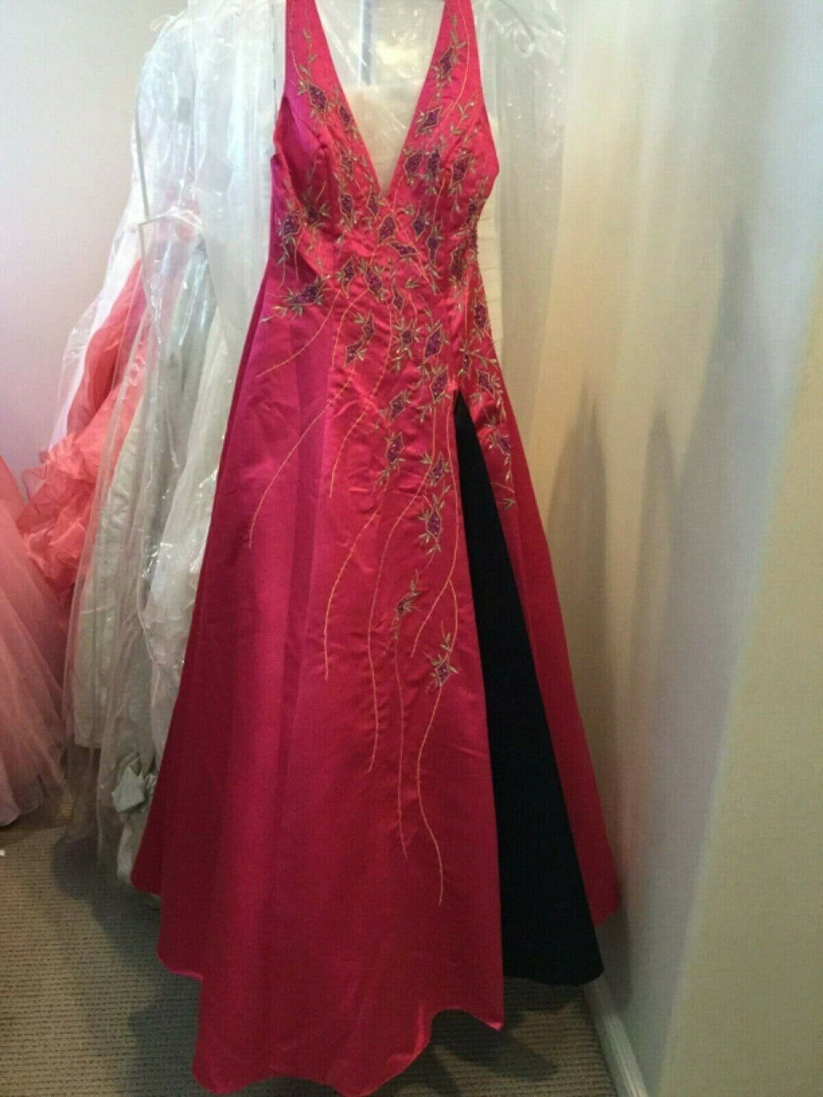 Sparkle prom pageant quinceanera ball gown beaded embroidered Halter dress 4 NEW